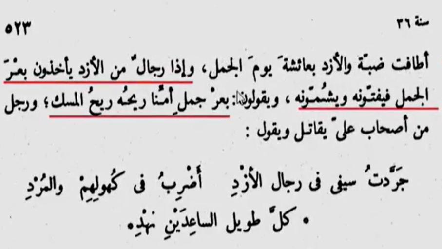تصویر تاریخ طبری، جلد ۴، صفحه ۵۲۳ که ترجمهی آن در بالا آمده است.