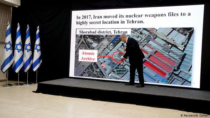 بنیامین نتانیاهو در سال ۲۰۱۸ درحال تشریح عملیات انتقال اسناد سری هستهای از تهران به اسرائیل